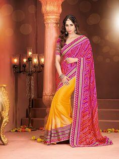 Buy Spellbind Orange & Pink Georgette Embroiderede Saree Online