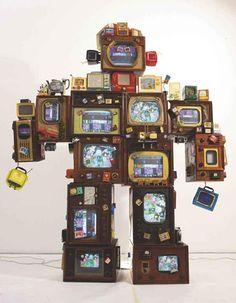amalgammaray:  Nam June Paik, TV is Kitsch, 1996, Televisions.