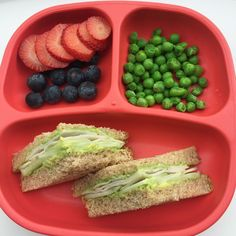 Lunch: Blueberries, Strawberries, Steamed Peas, and an Avocado, Cucumber, and Turkey sandwich on Whole Wheat bread.