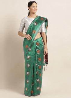 Sareetag Green  Designer Classic Party Wear Saree Bridal Sarees Online, Silk Sarees Online, Green Saree, Art Silk Sarees, Party Wear Sarees, Green Fabric, Saree Collection, Indian Sarees, Indian Outfits