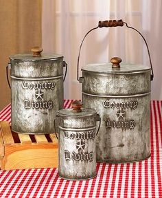 Country Living Home Decor Canisters or Wall Buckets Galvanized Tin Rustic Add rustic, down-home flair to your living space with these Country Living Home Accents. The multipurpose set helps you get creative with your storage units. Rustic Kitchen Decor, Country Farmhouse Decor, Rustic Decor, Country Living, Rustic Barn, Rustic Patio, Kitchen Dining, Kitchen Ideas, Modern Country