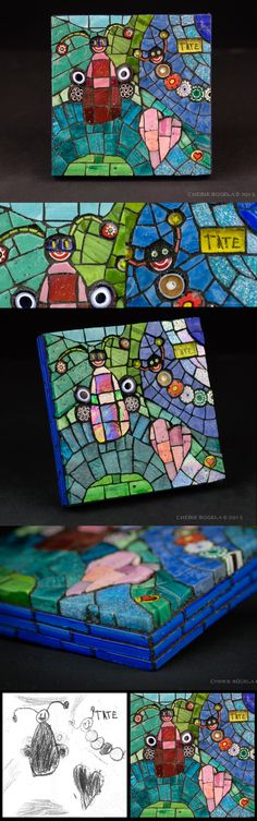 """I was given 2 kids drawing that my client wanted me to turn into a mosaic. Size: 4.5"""" x 4.5"""" Date: 2013 Medium: mosaic made with Mexican and Italian smalti and millefiori. I preserved the children's signatures under a piece of transparent smalti. © Cherie Bosela"""