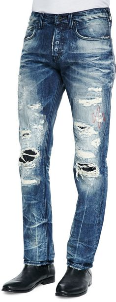 Altered Images Destroyed and Bleached Slim Jeans by PRPS at Neiman Marcus. Bermudas Shorts, Denim Pants, Denim Men, Trousers, Denim Ideas, Denim Trends, Slim Jeans, Ripped Jeans, Mein Style