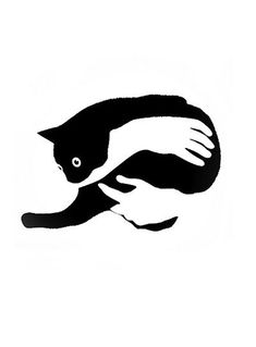 Cats in Art and Illustration: Cavalera Art And Illustration, Leaves Illustration, Cat Illustrations, Black And White Illustration, Art Plastique, Crazy Cats, Stencil, Artsy, Sketches
