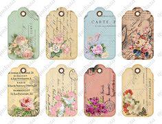 VIntage Floral Tags Instant Download Digital Collage by quakasu