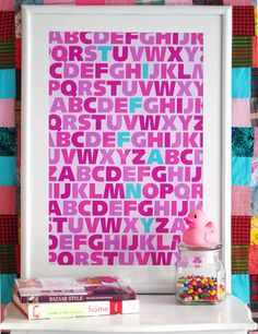 """Very cool, mod art for a tween's room (and how clever is spelling the girl's name """"Tiffany"""" in Tiffany blue?!)"""