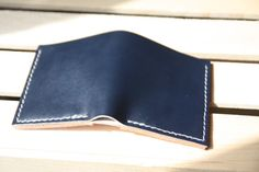 Classic Leather Bifold Wallet Indigo by HidesAndStitches on Etsy, $48.00