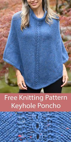 Free knitting pattern for pullover poncho with a 4 row repeat Keyhole Mock Cable stitch detail down front and back. Aran weight yarn. Designed by Julie Gaddy for Cascade Yarns. Aran Weight Yarn, Sport Weight Yarn, Cable Knitting Patterns, Free Knitting, Baby Sweater Patterns, Seed Stitch, Yarn Projects, Knitted Poncho, Cowls
