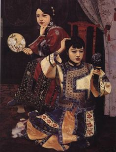 Two Girls with Mirror by Li Feng Di
