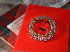 Vintage GERRY'S Circle of Life Pink Rhinestone Brooch Pin FALL Jewelry NIB Gift  #Gerrys #CircleDesignerVintageJewelryGiftforHer