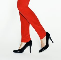 Black Patent Leather Heels. I got the heels... need the hottt red pants! I think Express has them :)
