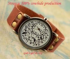Flower bird figure leisure watchPure leather strap by Godisgirl, $13.99