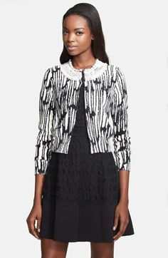 Tracy Reese Beaded Neck Print Cardigan available at #Nordstrom