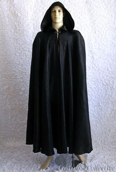 Long Black Cape with Hood for Men or Women