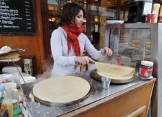 The next time you're at IHOP enoying a crepe, thank the French. Crepes are a culinary staple in the street-scene of Paris, France. There are different versions of crepes; however, savory crepes, commonly filled with ham and cheese, are usually served for lunch and dinner and sweet crepes are served for breakfast or as dessert.