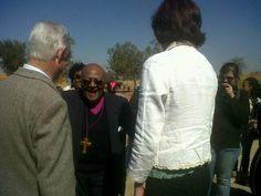 Maropeng MD Tony rubin and marketing manager Lindsay marshal welcome Archbishop Emeritus Desmond Tutu to Maropeng on July 31 Desmond Tutu, July 31, World Heritage Sites, Marketing