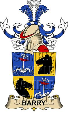 Barry Family Crest apparel, Barry Coat of Arms gifts
