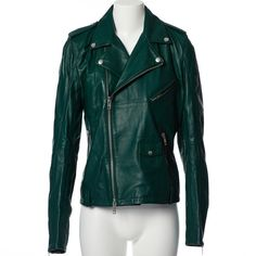 Pre-owned Mcq Leather Jacket ($328) ❤ liked on Polyvore featuring outerwear, jackets, green, women clothing jackets, zipper leather jacket, metallic jacket, biker jackets, leather jackets and green jacket