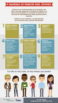 9 formas de parecer más jóvenes #infografia