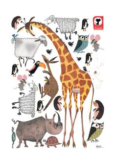 Set van superveel en supergrote muurstickers van dieren, met onder meer een grote giraffe, getekend door Fiep Westendorp. Hoge kwaliteit matte vinylstickers, gemaakt door Kek Amsterdam. Zonder witte of transparante randen rond de illustraties, voor een optimaal effect in de babykamer of kinderkamer. Zelfklevende vinylfolie, afmeting stickervel: 85 x 119 cm. € 89,95