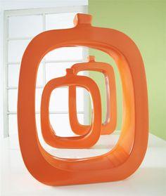 3 pc. Dubai Metallic Vase Set in Orange