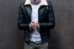 Sherpa black leather jacket for the fall, menswear fall style + fashion