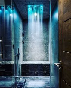 Yes or No to a rain shower in your bathroom? Stunning rain shower with lighting effect! By AV Architects Led Shower Head, Rain Shower, Spa Shower, Shower Bathroom, Cool Shower Heads, Modern Shower Heads, Oak Bathroom, Shower Rooms, Bathroom Closet