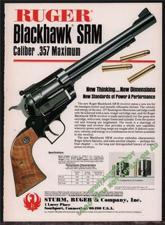 Buy 1983 Ruger Blackhawk SRM magnum Revolver Ad: GunBroker is the largest seller of Gun Posters, Catalogs & Flyers Collectibles & Militaria All Weapons Guns, Airsoft Guns, Guns And Ammo, Ruger Revolver, Single Action Revolvers, 357 Magnum, Cool Guns, Vintage Ads, Firearms