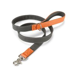 Dog Collars and Leashes / Leather Canvas Lead Grey & Orange by LoveThyBeast