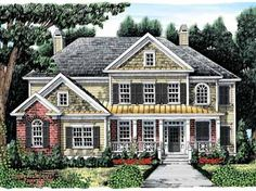 Floor Plans AFLFPW07697 - 2 Story New American Home with 5 Bedrooms, 4 Bathrooms and 2,733 total Square Feet