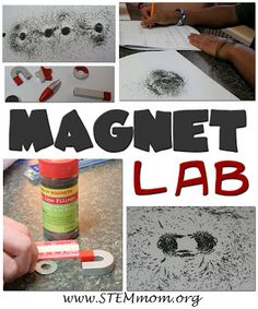 Magneten: Magnet Lab: 2 part lab; uses iron filings to see the magnetic fields. The second part allows students to design a way to measure the strength of a magnet. 8th Grade Science, Preschool Science, Middle School Science, Elementary Science, Science Classroom, Teaching Science, Science For Kids, Science Activities, Science Ideas