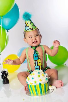 Baby Boy / Toddler Cake Smash Set First Birthday Outfit in Lagoon Guitars