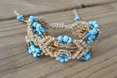 Hemp bracelet I made is made using Smokey Topaz and Blue Toho seed beads - front view
