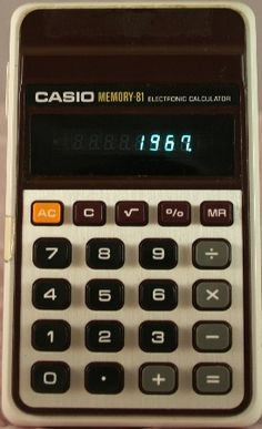 Casio Memory 81, our first  at home- it came in a  protective sleeve