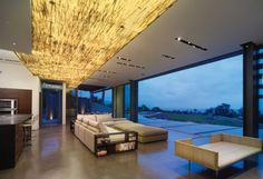 Open Plan Living With Brilliant Gold Rush Ceiling And Modern Beige Sectional Sofa Also Polished Concrete Floor Design Ideas: Modern Exclusive Interiors Design With Sparkling Golden Accent