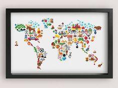 World Map cross stitch pattern / Printable PDF Pattern / World