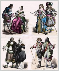 Baroque fashion of the late 17th century, about 1590. French and Dutch Costumes. French nobles in court dress. Dutch citizen costume. French Cavaliers.
