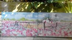 painting by Wilma Potgieter on FB Farm Paintings, Donkey, Landscape, Artist, Flowers, Animals, Animales, Animaux, Scenery