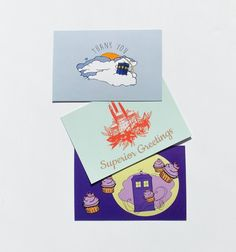 Doctor who 3 Postcard pack BIRTHDAY CARD in royal by DLarsonDesign #doctorWho