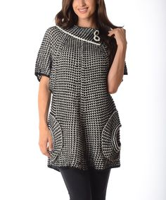 Look at this Diva Designs Black & White Cape-Sleeve Sweater Tunic - Women on #zulily today!