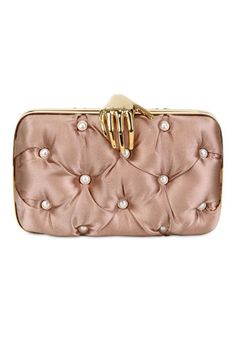 Benedetta Bruzziches Carmen With Hand & Pearls Silk Clutch