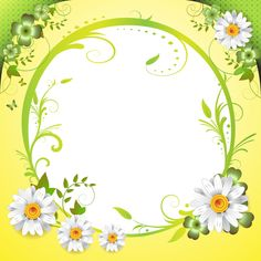 Fond - Printable - Background - Frame - Daisies - Clovers - Marguerites - Trèfles