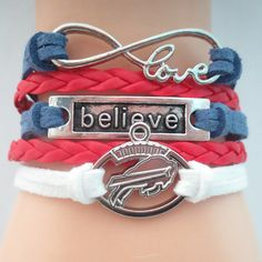 Infinity Love Buffalo Bills Football - Show off your teams colors! Cutest Love Buffalo Bills Bracelet on the Planet! Don't miss our Special Sales Event. Many teams available. www.DilyDalee.co