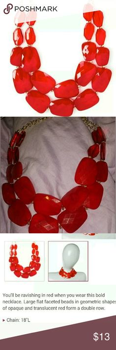 Double row red rocks necklace very cute Brand new icing a claires brand Claire's Jewelry Necklaces