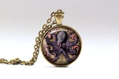 Awesome Nautical pendant with a chain or a leather cord. Nice Steampunk jewelry in bronze or silver finish. Beautiful Octopus necklace.  SIZE: 1 inch