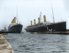 A colourized photo of the Titanic and the Olympic.