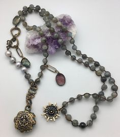Love Heals Prayers Are Answered Labradorite and Pearl Mala with Amethyst Amulet and Prayer Box