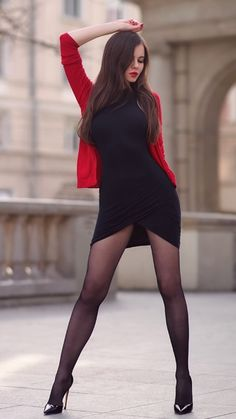 Black tight dress, red cardigan and black tights Sexy Legs And Heels, Hot High Heels, Beautiful Legs, Gorgeous Women, Tight Dresses, Sexy Dresses, Pantyhose Outfits, Fashion Tights, Black Tights