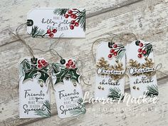 Painted Christmas Cards, Christmas Paper Crafts, Stampin Up Christmas, Christmas Minis, Christmas Gift Tags, Holiday Cards, Xmas, Small Gifts, Cardmaking