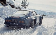 1973 Monte Carlo. The Alpine-Renault A110 of Bernard Darniche and Alain Mahé at the Rally Monte-Carlo in 1973.